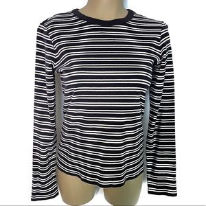 LANDS' END Black & White Striped Pullover Knit Top